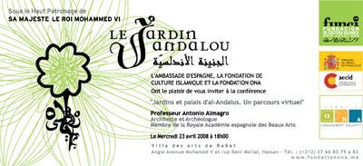 Invitación Conferencia en Marruecos sobre jardines y palacios andalusíes