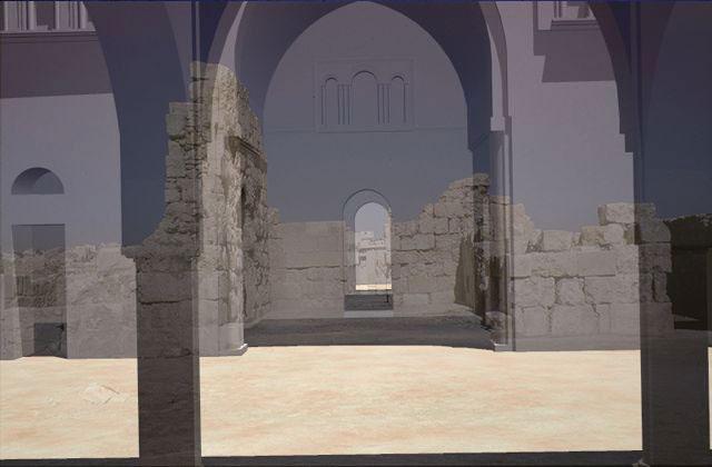 Reconstrucción infográfica del Palacio Omeya de Amman (Jordania) sobre los restos arqueológicos