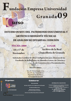 Estudio in situ del patrimonio documental y artístico mediante técnicas de análisis no invasivas (I Edición)