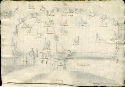 Dibujo anónimo de la ciudad de Córdoba (1752). Archivo de la Catedral de Córdoba (Colección Vázquez Venegas, v. 260/1-2)
