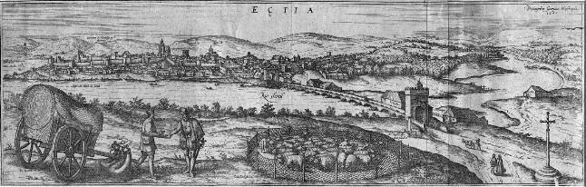 J. Hoefnagel (1567): Vista de Écija publicada en el Civitatis Orbis Terrarum (1572)