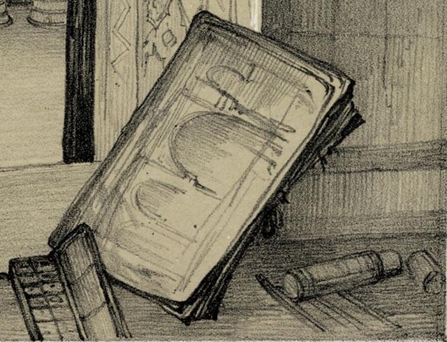 Detalle del bloc e instrumentos de dibujo de J. F. Lewis en 'El Patio de los Leones desde la Sala de Abencerrajes' 1835