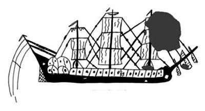 Grafito representando una fragata, en el castillo de La Herradura (Almuñécar)