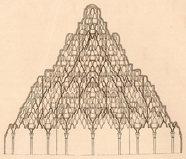 Owen Jones: Sección de la bóveda de mocárabes en la Sala de las Dos Hermanas de la Alhambra, 1842-44 (colección particular E. Páez López)
