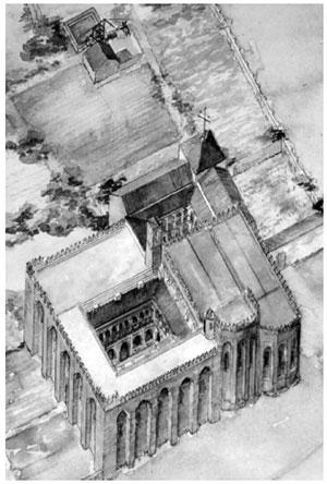 San Isidoro del Campo. Santiponce (Séville). Monastère cistercien. Reconstruction idéal (P. Respaldiza Lama)
