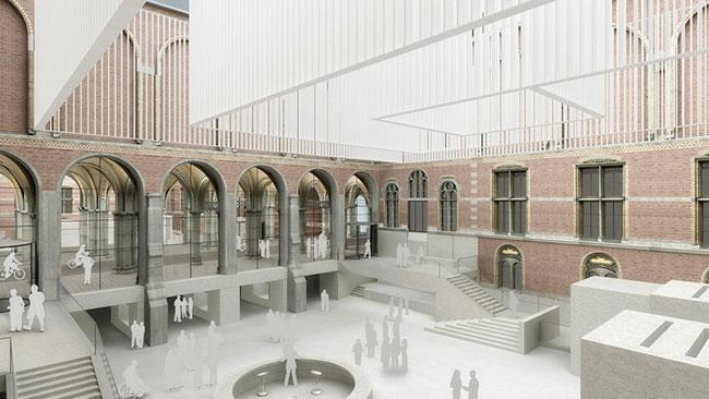 Cruz y Ortiz: rehabilitación y ampliación del Rijksmuseum, (Ámsterdam, 2001-2013). Vista digital del patio oeste (infografía © INDIGO)