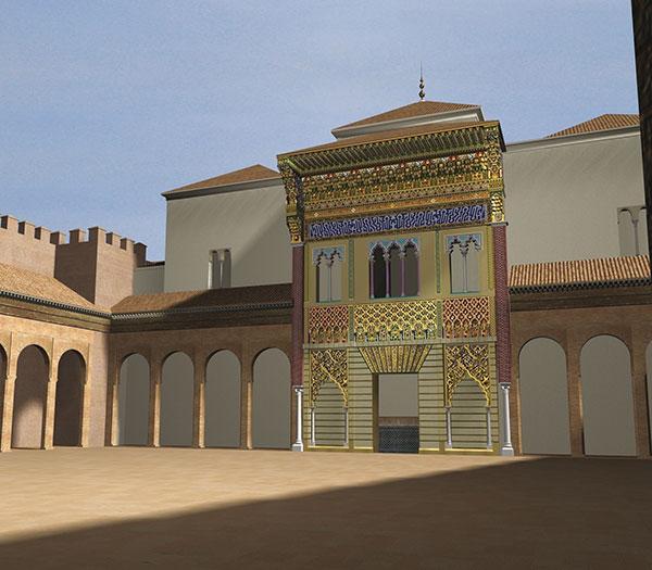 Reconstrucción virtual de la fachada del palacio de Pedro I del Alcázar de Sevilla. (Hipótesis de A. Almagro, imagen de M. González).