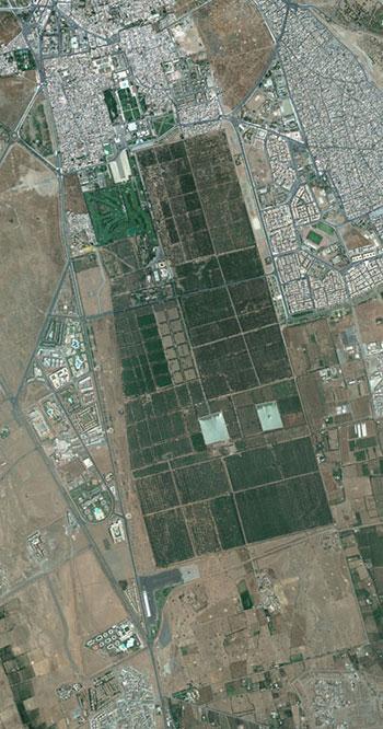 Vista aérea de los Jardines del Agdal, en Marrakech