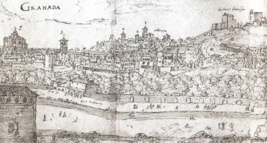 El Cuarto Real en la vista de Granada de Anton van de Wingaerde (1567).