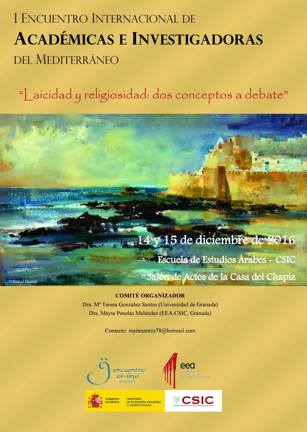 """14-15 Diciembre.I Encuentro Internacional de Académicas e Investigadoras del Mediterráneo  """"Laicidad y religiosidad: dos conceptos a debate"""""""