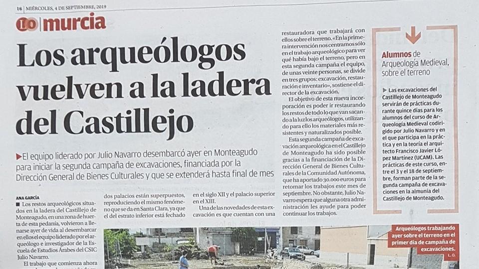 La segunda campaña de excavaciones del Castillejo de Monteagudo en la prensa