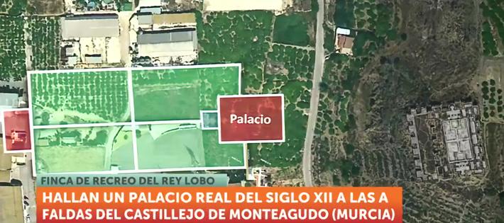 La televisión 7TV se hace eco del descubrimiento de un palacio del siglo XII en la almunia del Castillejo de Monteagudo